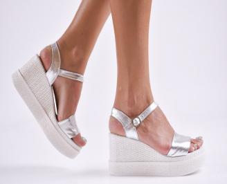 Дамски  сандали на платформа  естествена кожа сребристи XDLS-27859