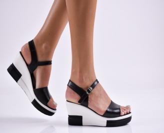 Дамски  сандали на платформа  еко кожа черни DWVL-27862