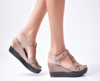 Дамски  сандали на платформа  естествена кожа кафяви HHMF-27889