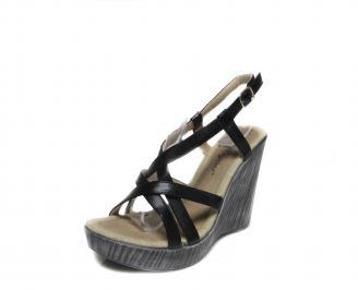 Дамски сандали на платформа еко кожа черни AKDS-16573