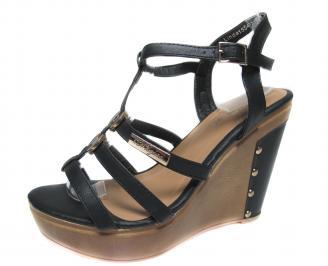 Дамски сандали на платформа черни еко кожа EZKB-18922