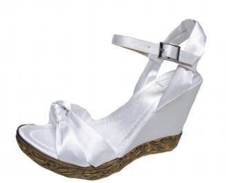 Дамски сандали на платформа бели сатен VCUI-19233
