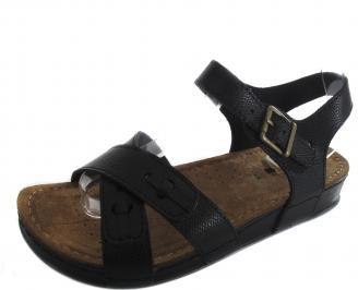 Дамски сандали на платформа черни естествена кожа QGZK-19267