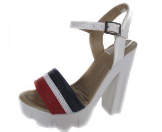 Дамски сандали на то еко кожа бели SXQV-19530