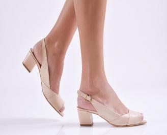 Дамски сандали на ток бежови еко кожа HGQT-19230