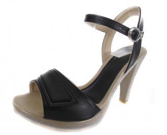Дамски сандали на ток черни еко кожа AAYH-19177