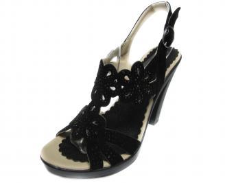 Дамски сандали на ток еко кожа/велур черни NHUJ-17197