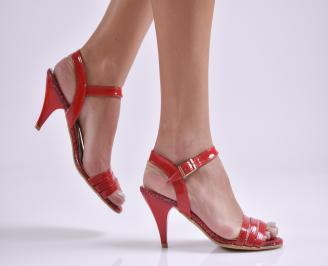 Дамски сандали на ток еко кожа/лак червени VDUV-19613