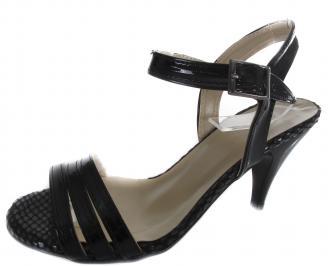 Дамски сандали на ток еко кожа/лак черни OFIK-19624