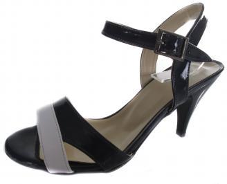 Дамски сандали на ток еко кожа/лак тъмно сини CRMO-19633