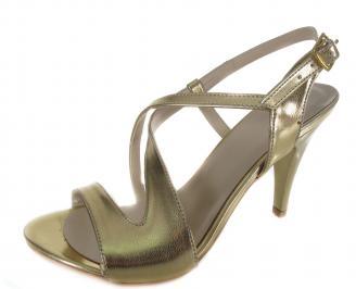 Дамски сандали на ток еко кожа златисти WHQU-19721