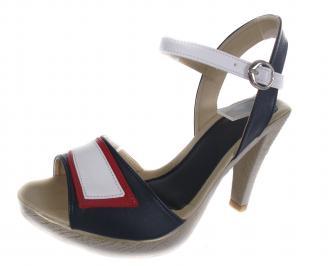 Дамски сандали на ток синьо/бяло/червено еко кожа YMBE-19173