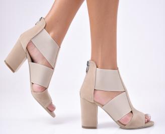 Дамски сандали  набук  бежови RVYQ-1012354