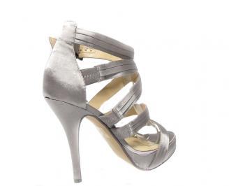Дамски сандали сатен сребристи ILVT-13453