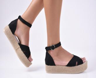 Дамски сандали текстил черни GKZE-1012123