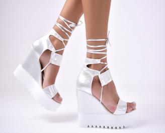 Дамски сандали текстил сребристи CLYJ-1012610