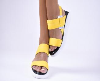 Дамски сандали  текстил жълти PJWT-1012457