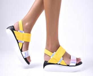 Дамски сандали  текстил жълти AUOF-1012582
