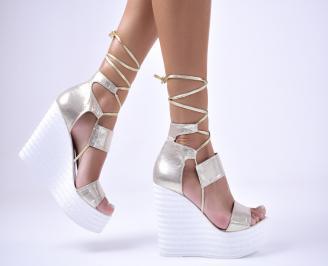 Дамски сандали текстил златисти NFFL-1012598