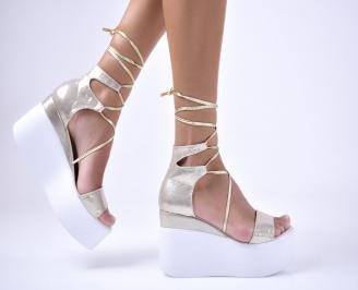 Дамски сандали текстил златисти KNVG-1012680