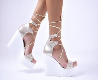 Дамски сандали текстил златисти FRRS-1012685