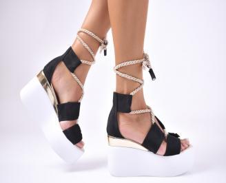 Дамски сандали  велур  черни NXTI-1012635