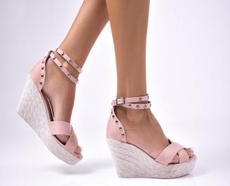 Дамски сандали велур  розови LBBV-1012600