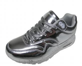 Дамски спортни обувки Bulldozer еко кожа /лак сребристи KPLY-21094