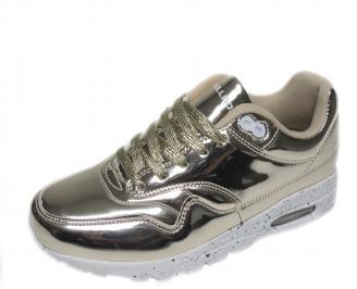 Дамски спортни обувки Bulldozer  еко кожа/лак златисти