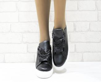 Дамски спортни обувки   Bulldozer еко кожа черни ZTJQ-25086