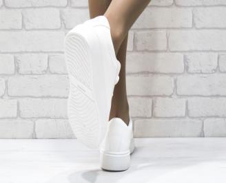 Дамски спортни обувки   Bulldozer еко кожа бели CSLN-25094