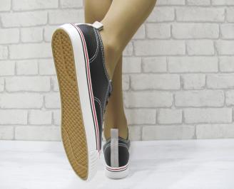 Дамски спортни обувки  черни еко кожа NNNA-23057