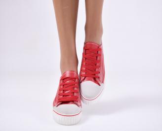Дамски спортни обувки  червени еко кожа AUTP-23059