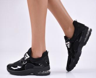 Дамски спортни обувки  черни  текстил/еко кожа SOOG-23061
