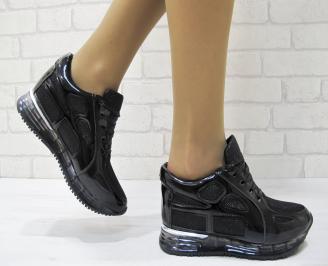 Дамски спортни обувки  черни  текстил/еко лак THEL-23064