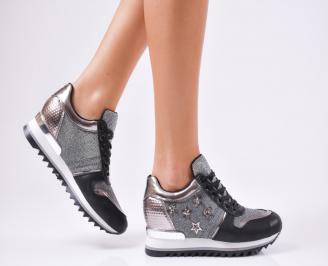 Дамски спортни обувки  еко кожа черни GHAQ-1010211