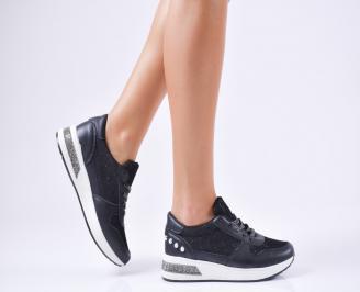 Дамски спортни обувки  еко кожа черни TIBY-1010216