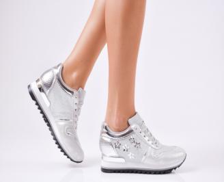 Дамски спортни обувки  еко кожа сребристи WCOK-1010218