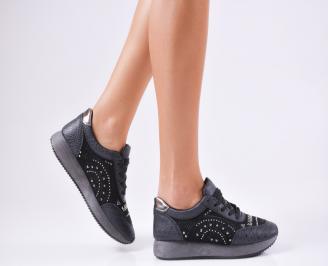 Дамски спортни обувки  еко кожа черни CEPO-1010225