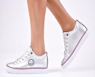 Дамски спортни  обувки еко кожа сребристи CUWB-1010252