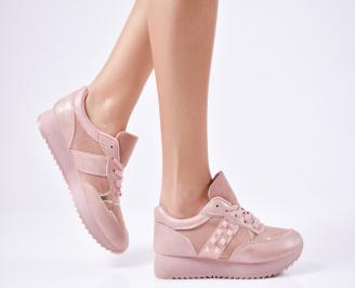 Дамски спортни  обувки еко кожа  розови HMUF-1010312