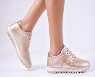 Дамски спортни  обувки еко кожа пудра FDTR-1010358