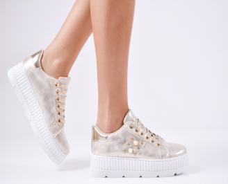 Дамски спортни  обувки еко кожа златисти ZYES-1010360