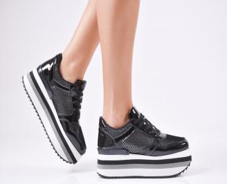 Дамски спортни обувки  еко кожа/лак черни VMGV-1010365