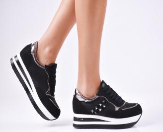 Дамски спортни  обувки еко кожа/велур черни UJPR-1010367