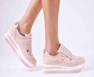 Дамски спортни  обувки еко кожа/велур розови JTQS-1010369