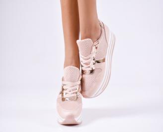 Дамски спортни  обувки еко кожа розови TTEN-1010376