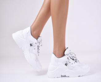 Дамски спортни обувки  еко кожа бели QEQX-1011069
