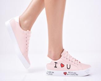 Дамски спортни  обувки еко кожа  розови CSRQ-1011423