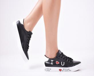 Дамски спортни обувки  еко кожа черни DHGE-1011424
